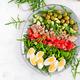 Tuna fish salad with eggs, cucumber, tomatoes, olives and arugula - PhotoDune Item for Sale