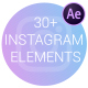 Instagram Elements | Frosted Glass Cards - VideoHive Item for Sale
