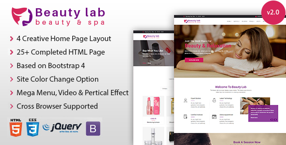 Beauty Lab - Cosmetics Shop and Spa Parlor HTML Template