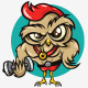 Owl Gym Cartoon Logo