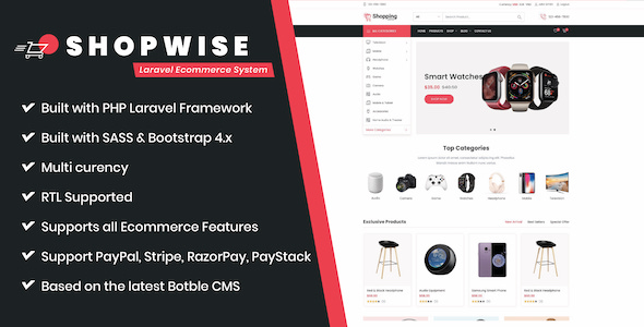 Download Shopwise – Laravel Ecommerce System Free Nulled