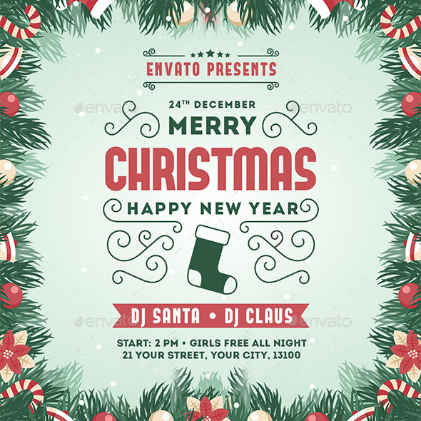 Merry Christmas & New Year Party Instagram Banner