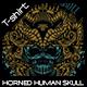 Horned Human Skull T-shirt Design