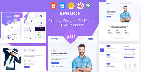 Wonderful Spruce - Personal Portfolio and vCard Template