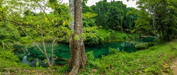 Rarru Rentapao Cascades, Waterfall and the River, Teouma village, Efate Island, Vanuatu - Stock Photo - Images