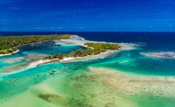 Drone aerial view of Erakor Island, Vanuatu, near Port Vila - Stock Photo - Images