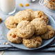 Healthy Vegan Oat Cookies. Grey background. Close up. - PhotoDune Item for Sale
