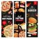Pizza Burger Snacks Takeaway Food Vector Banners