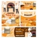 Pastry Shop and Bakery Cartoon Vector Posters Set