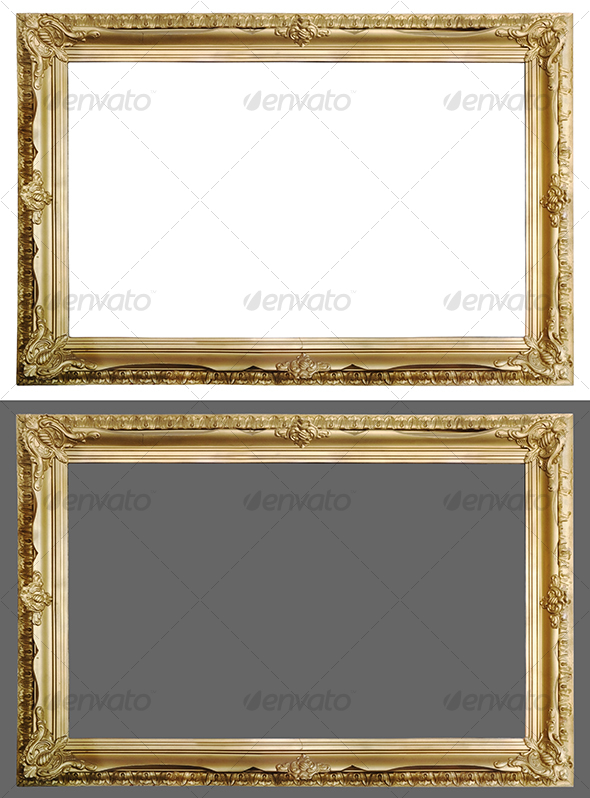 Antique golden picture frame - Home & Office Isolated Objects