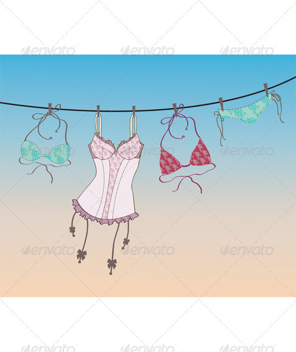 Pantie, bra and lingerie hanging on rope  - Decorative Symbols Decorative