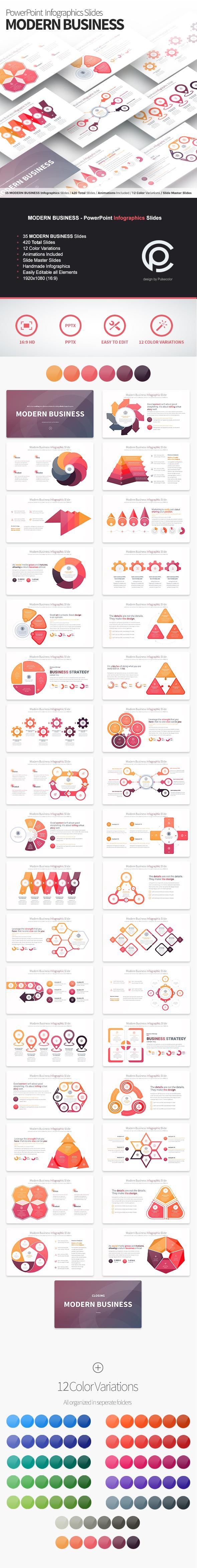 Modern Business - PowerPoint Infographics Slides