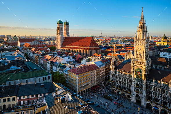 Aerial view of Munich, Germany - Stock Photo - Images