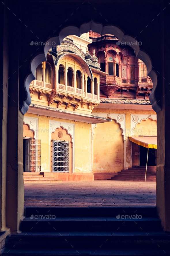 Arched gateway in Mehrangarh fort. Jodhpur, Rajasthan, India - Stock Photo - Images