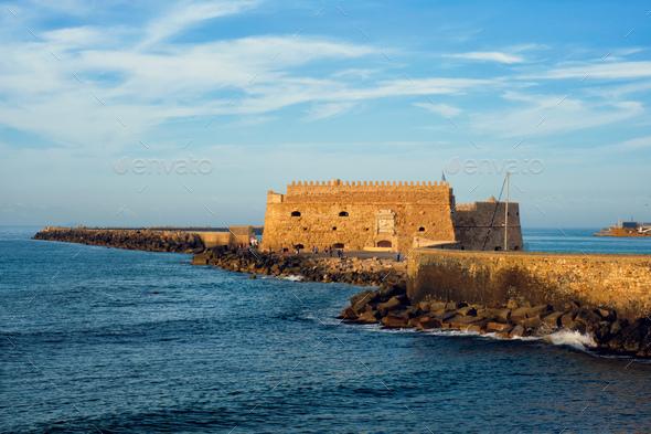 Venetian Fort in Heraklion, Crete Island, Greece - Stock Photo - Images
