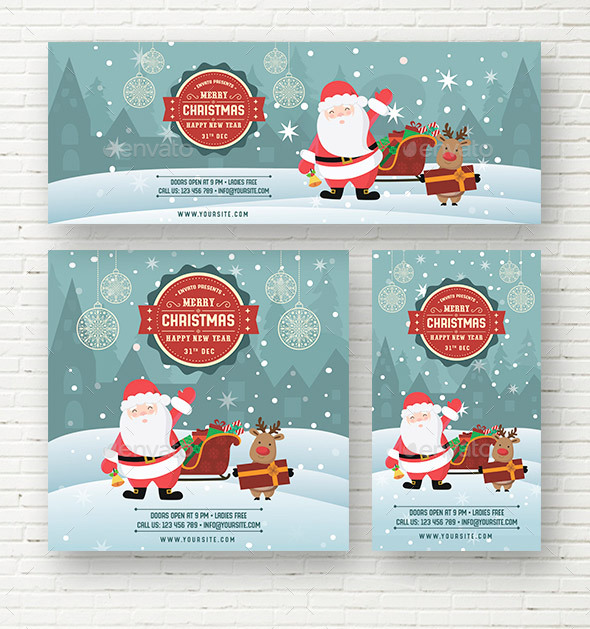 Merry Christmas New Year Social Media Template