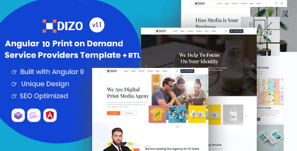 Wonderful Dizo - Angular 10+ Print on Demand Business Template