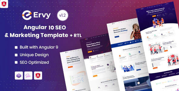 Ervy - Angular 10+ IT & SEO Company Template