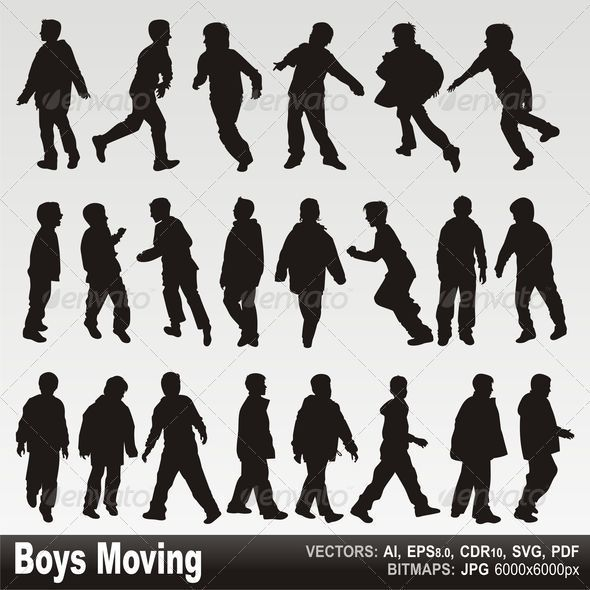 Boys in action silhouettes - People Characters