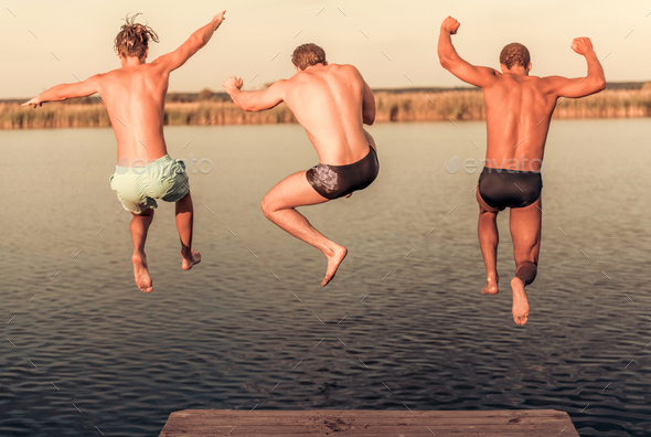 Guys on the sea - Stock Photo - Images