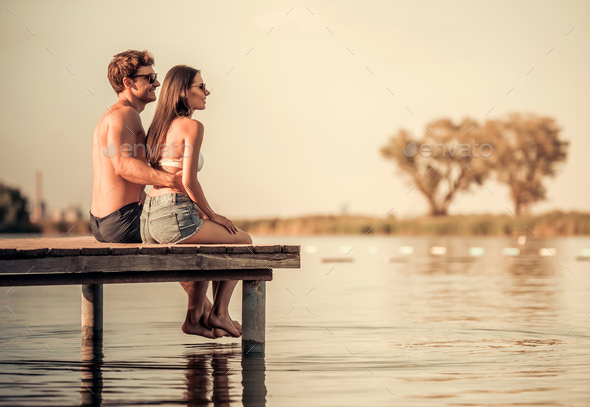 Couple on the sea - Stock Photo - Images