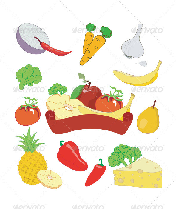 Fresh vegetables and fruit set  - Food Objects