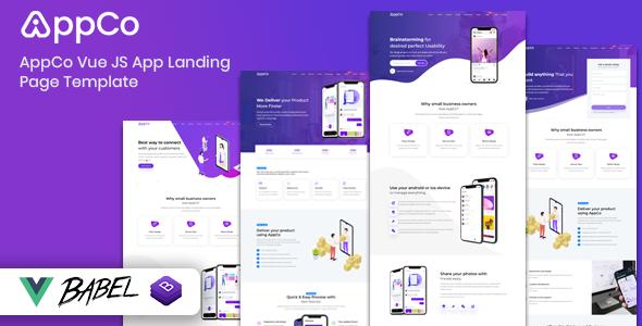 AppCo – Vue JS App Landing Page Template