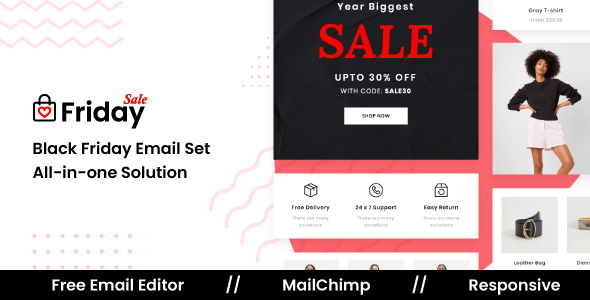 FridaySale – Responsive Email Template For Black Friday