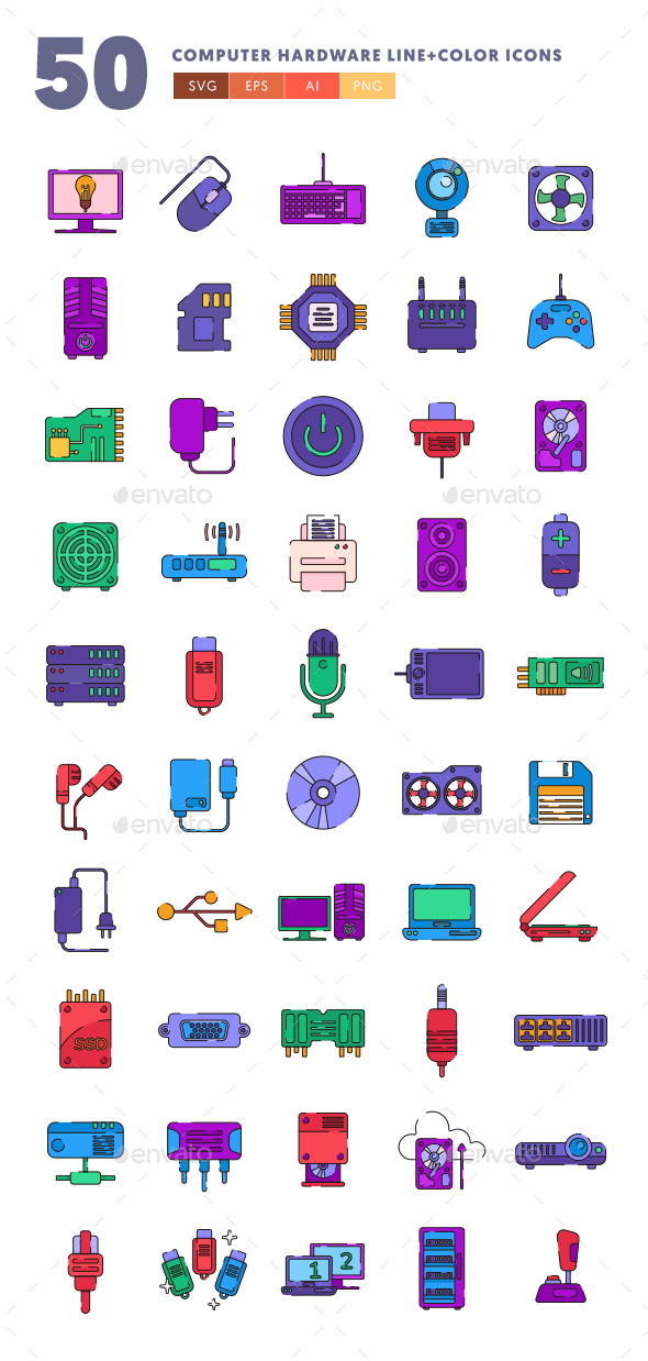 50 Computer Hardware Line & Color Icons