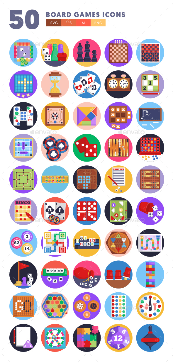 50 Board Games Icons