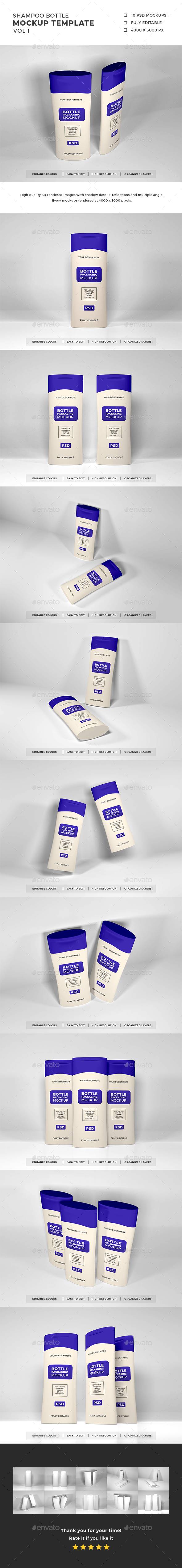 Shampoo Bottle Packaging Mockup Vol 1