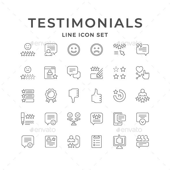 Set Line Icons of Testimonials