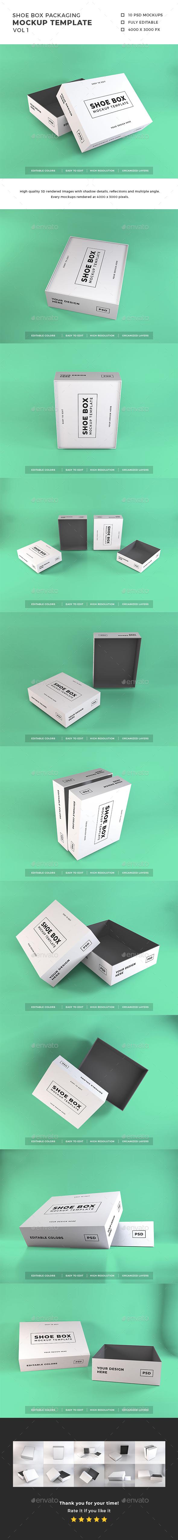 Shoe Box Packaging Mockup Template Vol 1