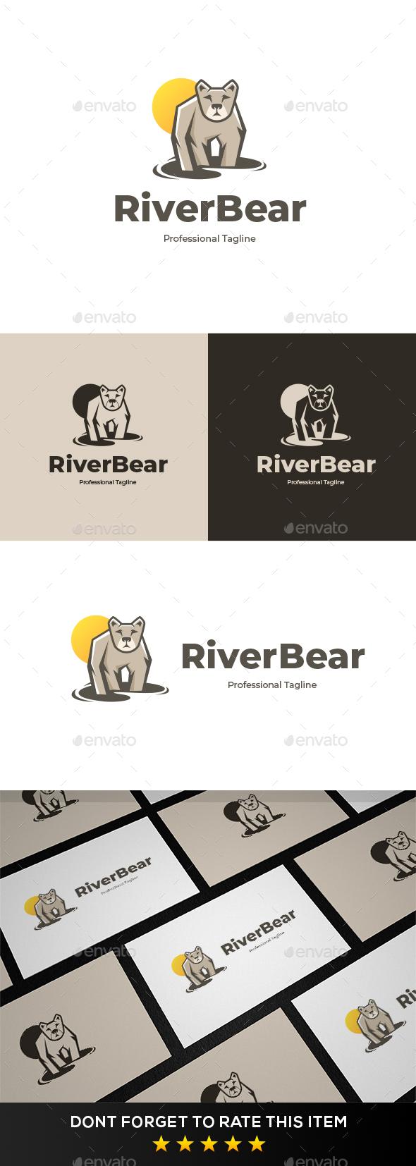 River Bear Logo Template