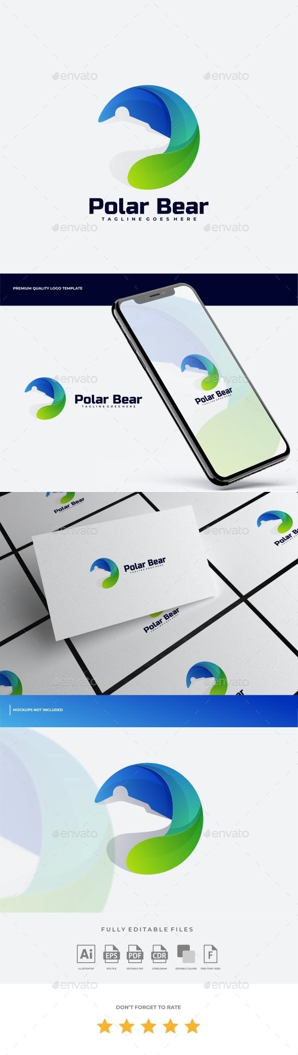 Polar Bear Negative Space Colorful Logo Template