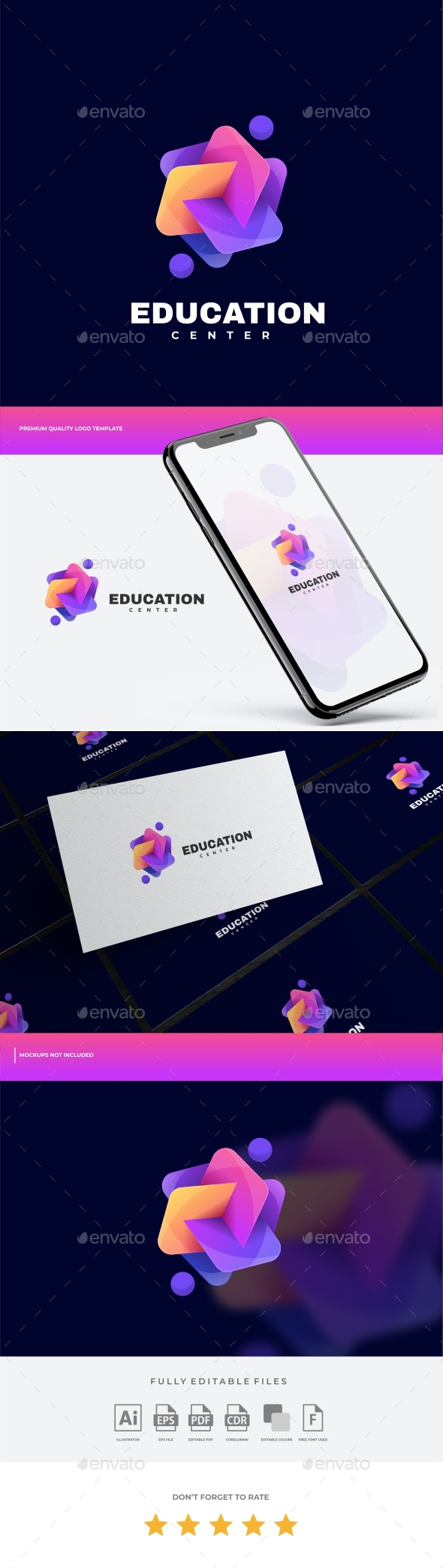 Education Gradient Colorful Logo Template