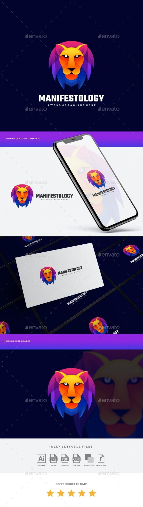 Lion Gradient Colorful Logo Template