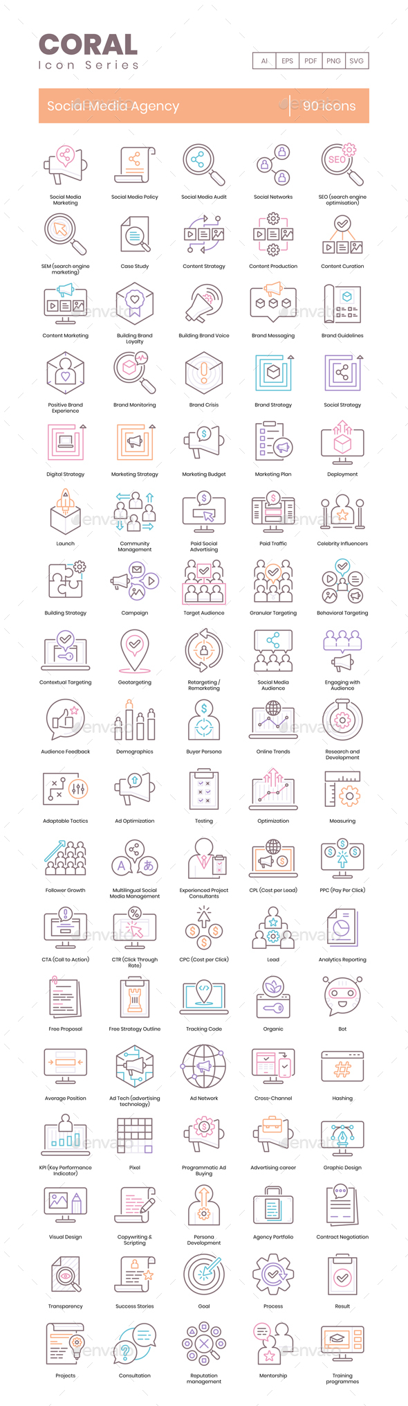 90 Social Media Agency Icons - Coral Series