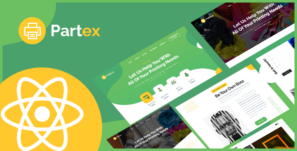 Partex - Printing Services React Template.