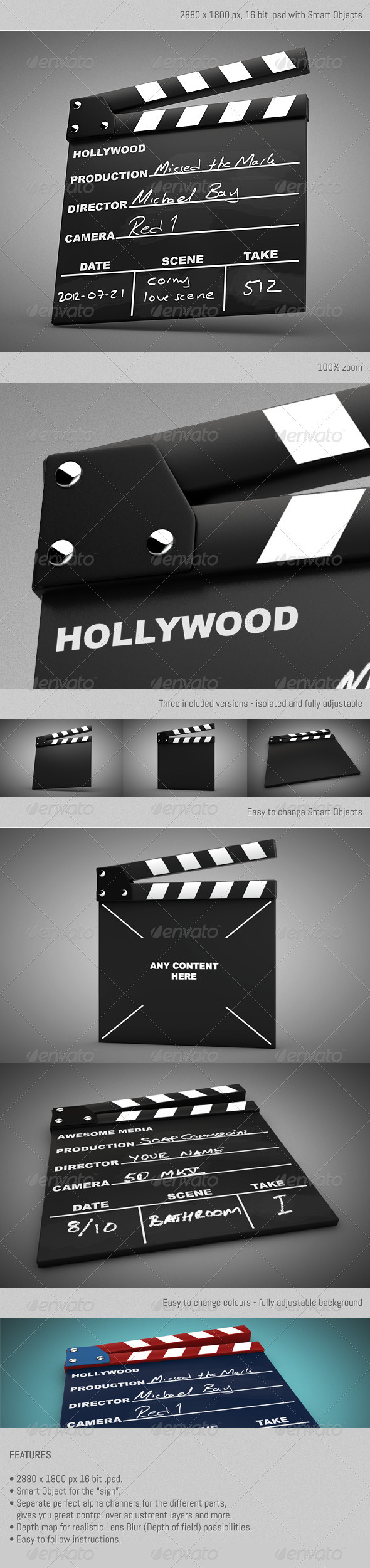Movie Clapper Kit - Objects 3D Renders