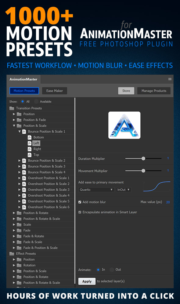 1000 Motion Presets for AnimationMaster