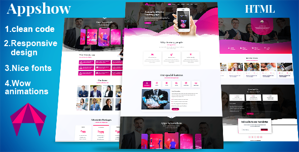 Appshow – App landing page HTML