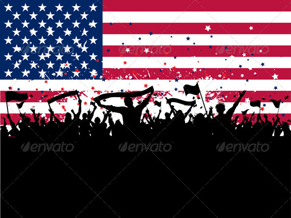Party crowd on American flag - People Characters