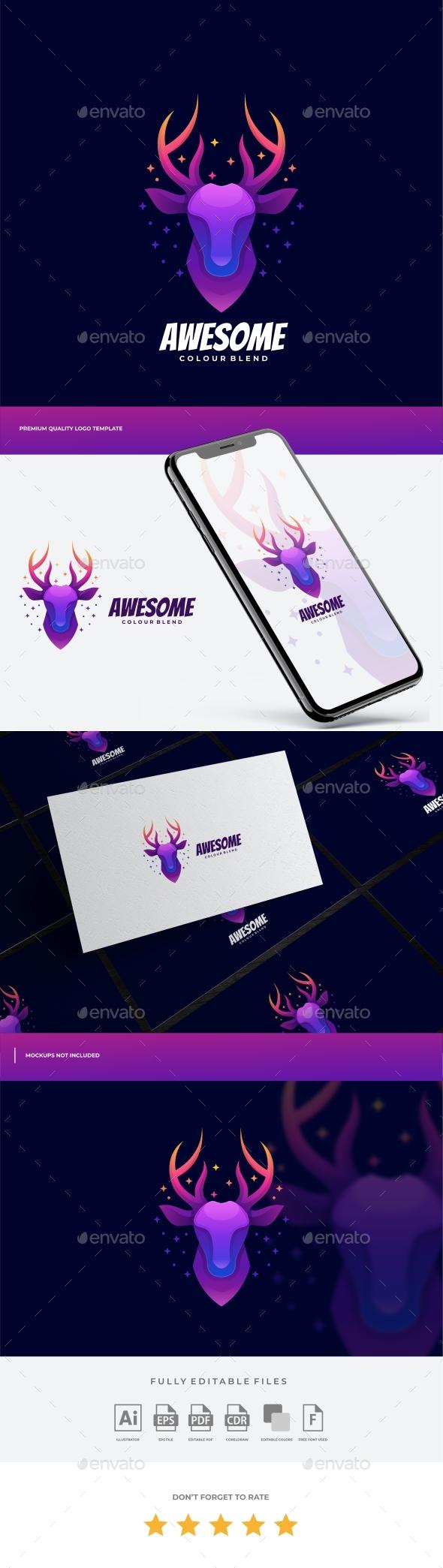 Deer Gradient Colorful Logo Template