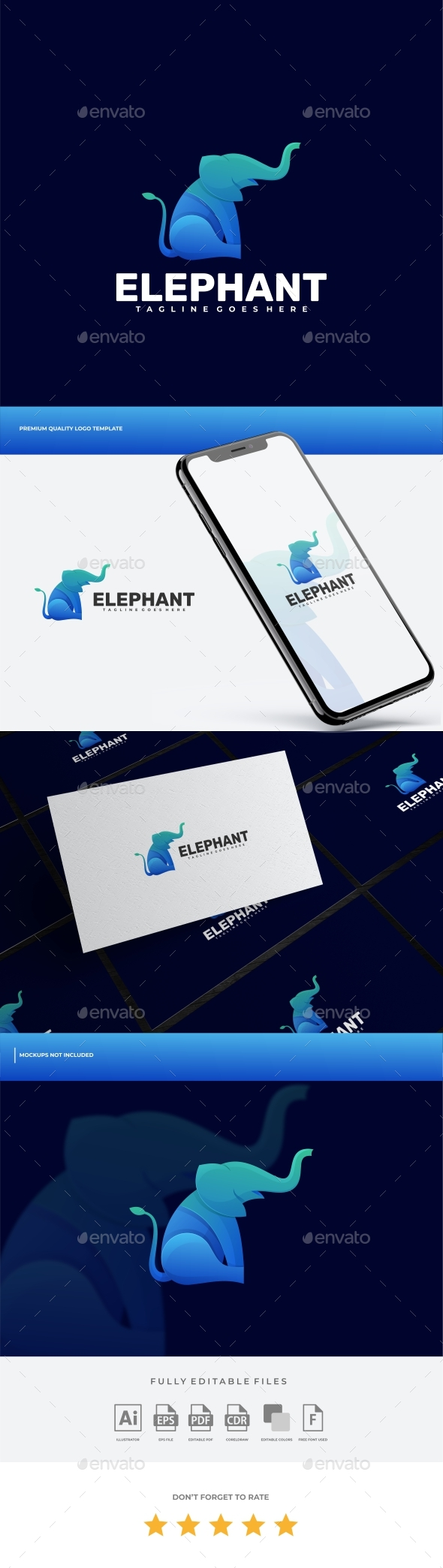 Elephant Gradient Logo Template