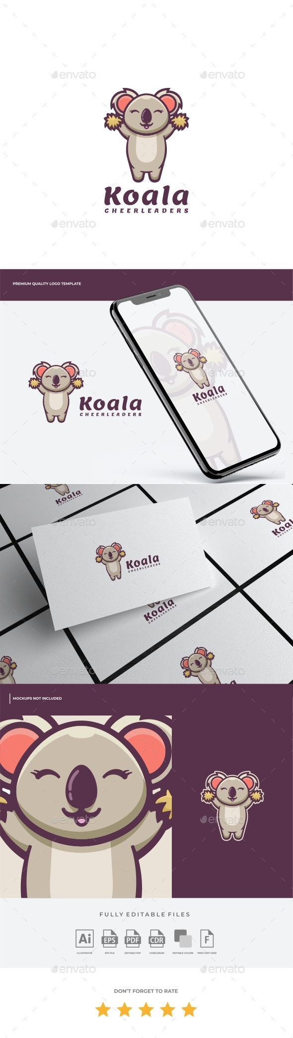 Koala Cartoon Logo Template