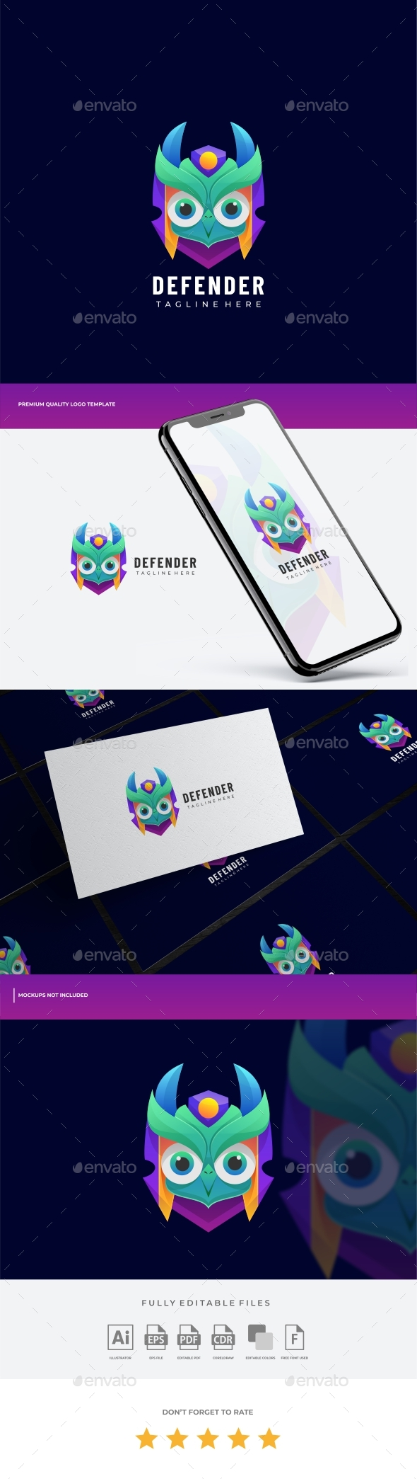 Owl Gradient Colorful Logo Template
