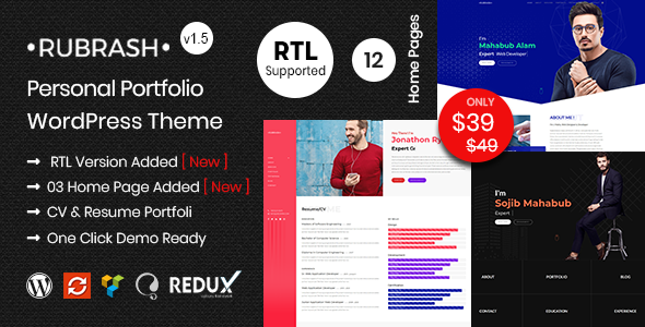 Rubrash - Personal Portfolio WordPress Theme