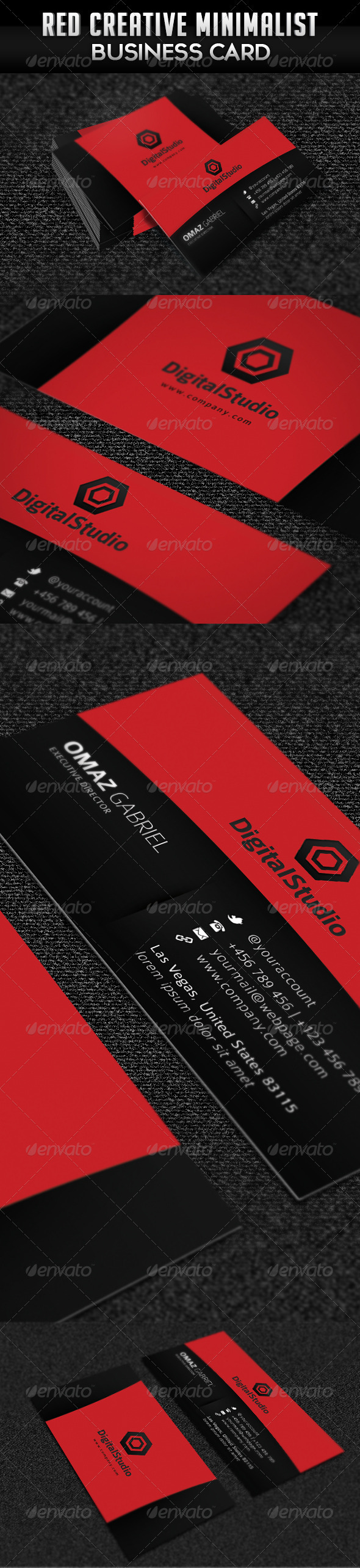 Red Creative Minimalist Business Card - Industry Specific Business Cards