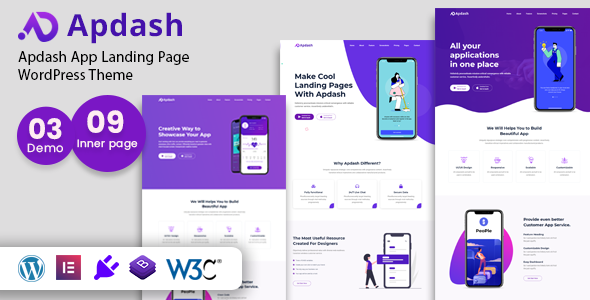Apdash – App Landing WordPress Theme